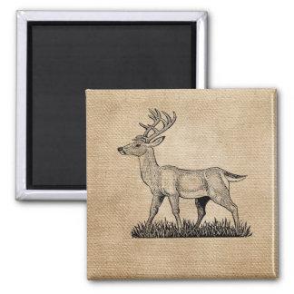 Burlap Deer Buck Horns Rustic Background Refrigerator Magnets