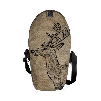 Burlap Deer Buck Horns Rustic Background Messenger Bag