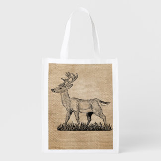 Burlap Deer Buck Horns Rustic Background Grocery Bags