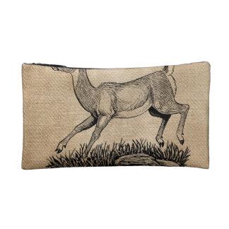 burlap deer doe rustic cosmetics bags