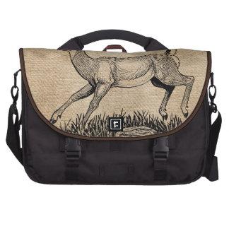 burlap deer doe rustic laptop computer bag