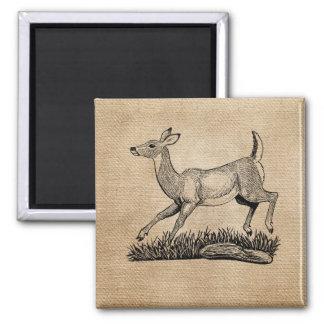 burlap deer doe rustic refrigerator magnets