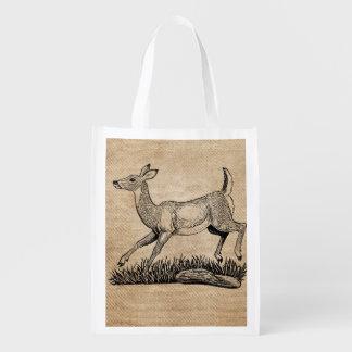 burlap deer doe rustic reusable grocery bags