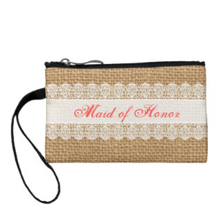 Burlap Delicate Lace -Maid of Honor- Shabby Chic Coin Purses