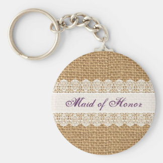 Burlap Delicate Lace -Maid of Honor- Shabby Chic Key Ring