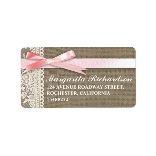 burlap design white lace pink bow address label