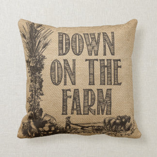 Burlap Down on The Farm Cushion