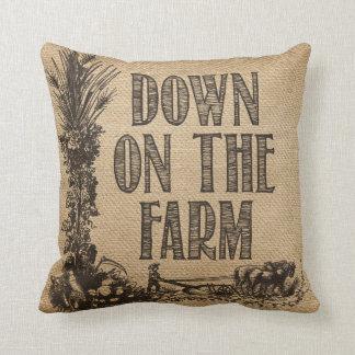 Burlap Down on The Farm Throw Pillow