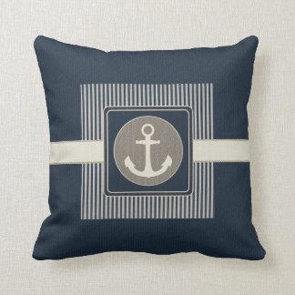 Burlap Effect Nautical Ship's Anchor Striped Cushion