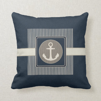 Burlap Effect Nautical Ship's Anchor Striped Throw Pillow
