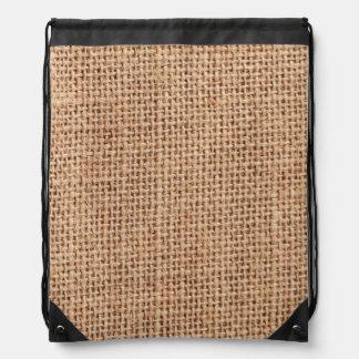 Burlap Fabric style Jute Look Drawstring Bag