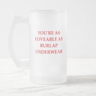 BURLAP FROSTED GLASS BEER MUG