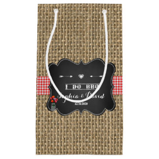 Burlap Gingham and Chalkboard I DO BBQ Custom Small Gift Bag