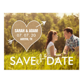 Burlap Heart | Rustic Save the Date Postcard