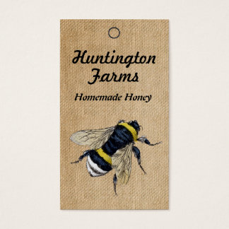 Burlap Honey Bee Price Tag