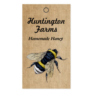 Burlap Honey Bee Price Tag Pack Of Standard Business Cards