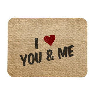 Burlap I Heart You and Me Magnet