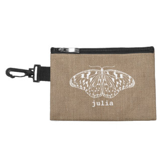Burlap Inspired Butterfly Clip On Accessory Bag