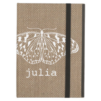 Burlap Inspired Butterfly iPad Case