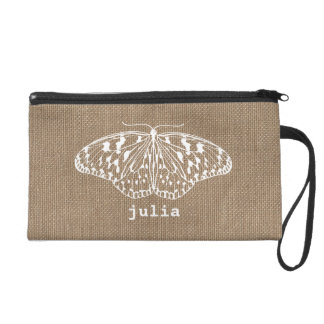 Burlap Inspired Butterfly Personalized Wristlet