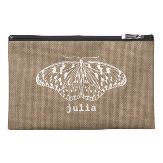 Burlap Inspired Butterfly Travel Accessory Bag