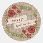 Burlap Inspired Floral Wreath Christmas Round Sticker