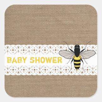 Burlap Inspired Honey Bee Baby Sticker