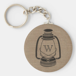 Burlap Inspired Monogram Oil Lantern Keychain