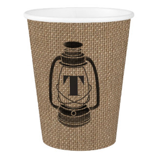 Burlap Inspired Monogrammed Lantern Wedding Cups