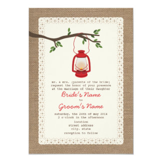 Burlap Inspired / Oil Lantern Camping Wedding Card