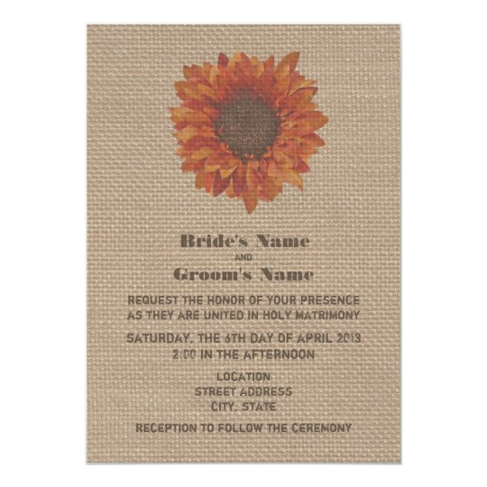Burlap Inspired Orange Sunflower Wedding Invite