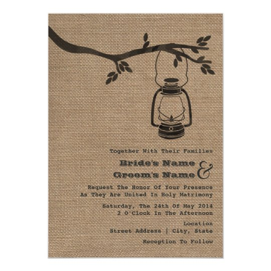 Burlap Inspired Outdoor / Camping Wedding Card