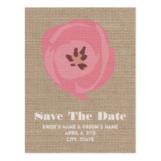 Burlap Inspired Pink Tulip Wedding Save The Date Postcard