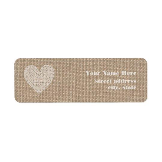Burlap Inspired Rustic White Heart Label Return Address Label