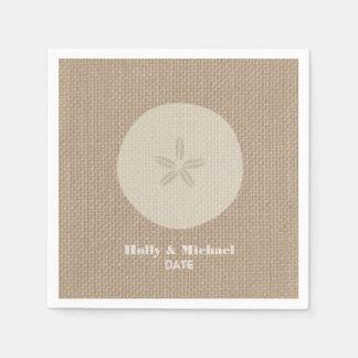 Burlap Inspired Sand Dollar Wedding Napkins Paper Napkin