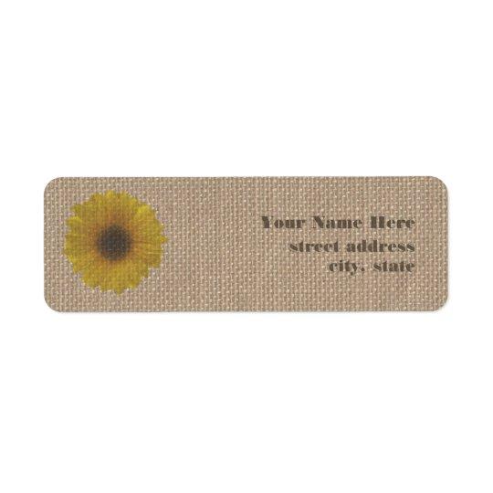 Burlap Inspired Sunflower Address Labels