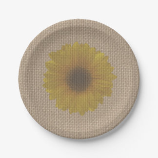 Burlap Inspired Sunflower Paper Plate