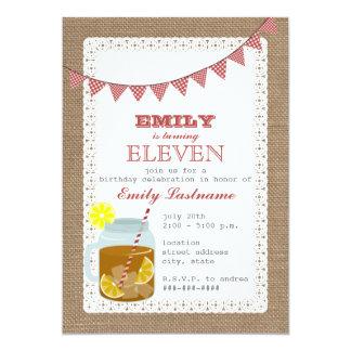 Burlap Inspired Sweet Tea Birthday 13 Cm X 18 Cm Invitation Card