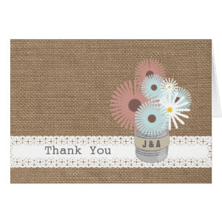 Burlap Inspired Tin Can Monogram Thank  You Card