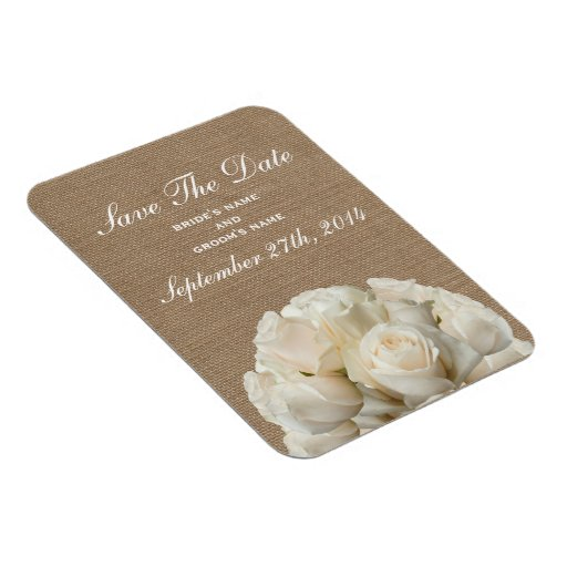 Burlap Inspired White Roses Save The Date Magnet