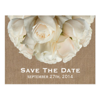 Burlap Inspired White Roses Save The Date Postcard