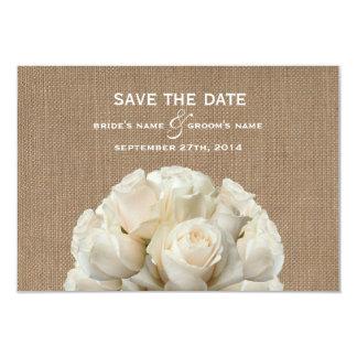 Burlap Inspired White Roses Wedding Save The Date 9 Cm X 13 Cm Invitation Card