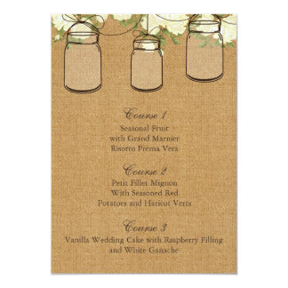 burlap ivory roses mason jar wedding menu cards