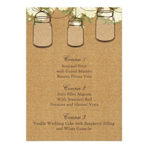 burlap ivory roses mason jar wedding menu cards