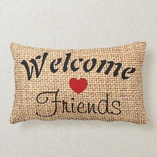Burlap Jute Welcome Friends Heart Accent Pillow