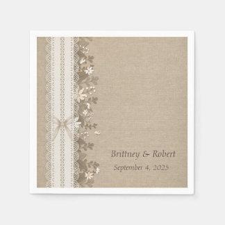 Burlap, Lace and Flowers Paper Serviettes