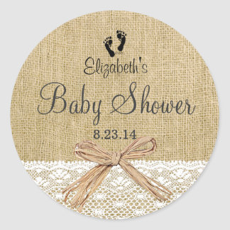 Burlap Lace and Footprints Baby Shower- Favor Classic Round Sticker