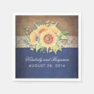 Burlap Lace and Sunflower Navy Rustic Fall Wedding Disposable Napkin