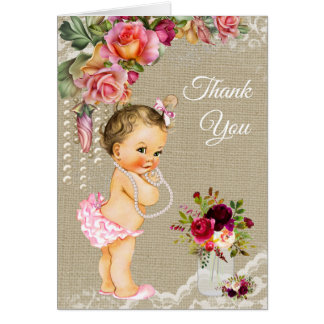 Burlap Lace Baby Shower Thank You Cards