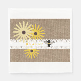 Burlap + Lace Bee Girl Baby Shower Napkins Paper Napkin